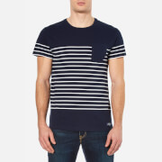 GANT Men's Placed Breton Stripe T-Shirt - Thunder Blue
