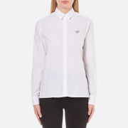 KENZO Women's Garment Dye Cotton Poplin Small Tiger Shirt - White