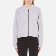 KENZO Women's Embroidered Tiger On Light Cotton Molleton Bomber Jacket - Light Grey