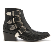Toga Pulla Women's Buckle Side Mix Leather Heeled Ankle Boots - Black