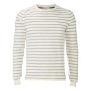 Jack & Jones Men's Originals Leo Stripe Crew Neck Jumper - White