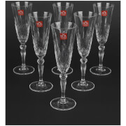 RCR Crystal Melodia Champagne Flutes Wine Glasses (Set of 6)