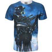 Star Wars Rogue One Men's Battle Stance Death Trooper T-Shirt - Blue