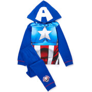Marvel Boy's Captain America Novelty Hood Pyjamas - Blue