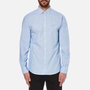 Tommy Hilfiger Men's Beach Long Sleeve Poplin Shirt - Surf The Web/Classic White