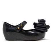 Mini Melissa Toddlers' Ultragirl Triple Bow Ballet Flats - Black Glitter