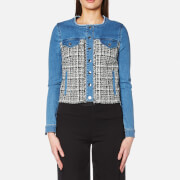Karl Lagerfeld Women's Denim and Boucle Jacket - Blue