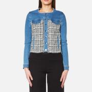 Karl Lagerfeld Women's Denim and Boucle Jacket - Blue