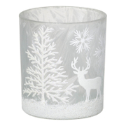 Parlane Winter Forest Glass Tealight Holder - White (8 x 7.5cm)