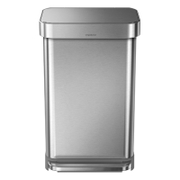 simplehuman Rectangular Brushed Steel Pedal Bin with Liner Pocket 55L