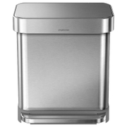 simplehuman Rectangular Brushed Steel Pedal Bin with Liner Pocket 30L
