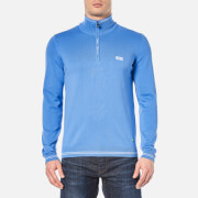 BOSS Green Men's Zime Half Zip Knitted Jumper - Medium Blue