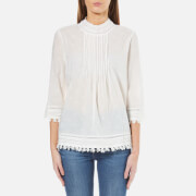 Maison Scotch Women's 3/4 Sleeve Woven Top with Embroidered Star Allover - White