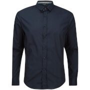 Brave Soul Men's Tudor Long Sleeve Shirt - Dark Navy