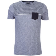 Brave Soul Men's Lenin Stripe Pocket T-Shirt - Denim/Navy/White