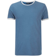 Brave Soul Men's Pete Shoulder Panel T-Shirt - Vintage Blue Marl/Ecru Marl