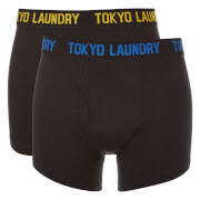 Tokyo Laundry Men's Pellipar 2 Pack Boxers - Black/Olympian Blue/Yellow Iris