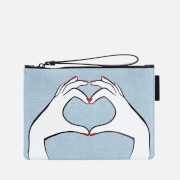 Lulu Guinness Women's Heart Hands Denim Grace Pouch - Denim
