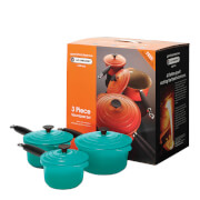 Le Creuset Cast Iron 3 Piece Saucepan Set - Teal