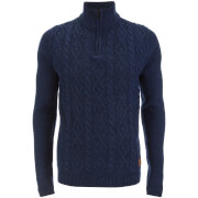 Threadbare Men's Furrow Zip Neck Cable Jumper - Indigo Marl
