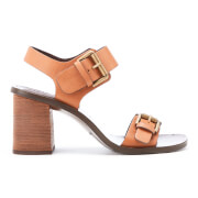 See by Chloe Women's Buckle Leather Heeled Sandals - Malt