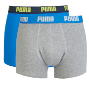 Puma Men's 2 Pack Basic Boxers - Blue/Grey