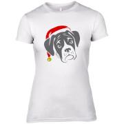 Boxer mit Santa Hut Frauen T-Shirt