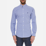 Polo Ralph Lauren Men's Long Sleeved Small Checked Shirt - Navy/Azure