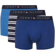 Tommy Hilfiger Men's Icon 3 Pack Stripe Trunk Boxer Shorts - Navy Blazer/French Blue/True Blue Stripe