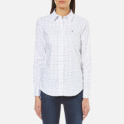 GANT Women's Stretch Oxford Printed Dot Shirt - White