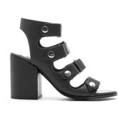 Senso Women's Stella Matt Leather Strappy Heeled Sandals - Ebony
