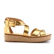 MICHAEL MICHAEL KORS Women's Darby Leather Flatform Sandals - Pale Gold