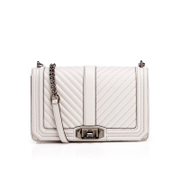 Rebecca Minkoff Women's Chevron Quilted Love Cross Body Bag - Putty
