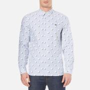 Lacoste L!ve Men's Large Polka Dot Long Sleeve Shirt - Admiral Blue/White/White