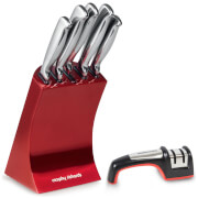 Morphy Richards 5 Piece Knife Block and Equip Knife Sharpener - Red