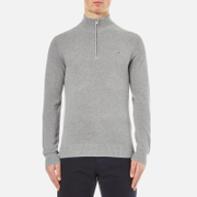 GANT Men's Cotton Pique Half Zip Sweatshirt - Grey Melange