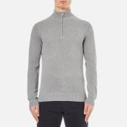 GANT Men's Cotton Pique Half Zip Sweatshirt - Grey Melange