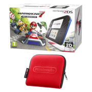 Nintendo 2DS Blue/Black + Mario Kart 7 + Nintendo 2DS Carrying Case - Red