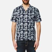Carhartt Men's Short Sleeve Pine Hawaii Shirt - Pine Print Blue/White