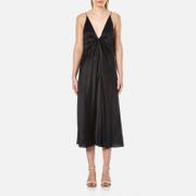 T by Alexander Wang Women's Silk Hammered Charmeuse Tie Knot Sleeveless Dress - Black