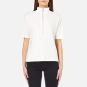Samsoe & Samsoe Women's Eileen Short Sleeve Zip Up Top - Clear Cream