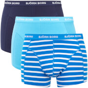 Bjorn Borg Men's Three Pack BB Stripe Boxer Shorts - Blue