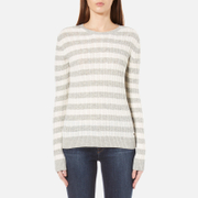 Superdry Women's Luxe Mini Cable Knit Striped Jumper - Grey Marl/Cream