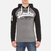 Superdry Men's Vintage Logo Raglan Hoody - Dark Marl/Black