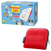 Nintendo 2DS White/Red + Tomodachi Life + Nintendo 2DS Carrying Case - Red