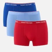 Tommy Hilfiger Men's 3 Pack Trunk Boxer Shorts - Soldalite Blue/Tango Red/Vista Blue