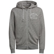 Jack & Jones Men's Originals Snap Zip Through Hoody - Grey Marl