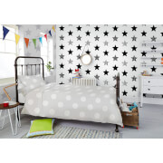 Superfresco Easy Kids' Superstar Star Print White/Silver Wallpaper
