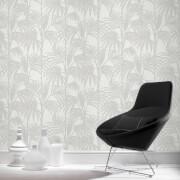 Julien MacDonald Honolulu Glitter Palm Print White Ice Wallpaper