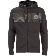 Crosshatch Herren Camden Camo Panel Zip Through Hoody - Charcoal Marl